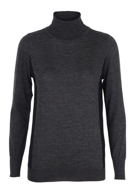 Le Mont Saint Michel - Strik - Turtle Neck Bicolor Sweater - Mørkegrå