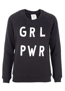 Zoe Karssen - Sweatshirt - Loose Fit Raglan GRL PWR Sweatshirt - Pirate Black