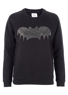 Zoe Karssen - Sweatshirt - Loose Fit Shiny Bat Sweatshirt - Pirate Black