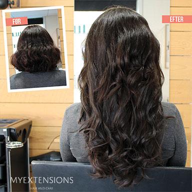 Før/efter billeder af hair extensions