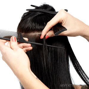 Tape extensions step 5
