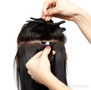 Tape extensions step 6