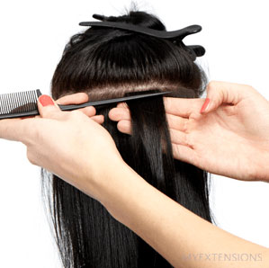 Tape extensions step 7