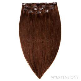 Clip on/off Original Hair extensions Mørk kastanjebrun nr. 4