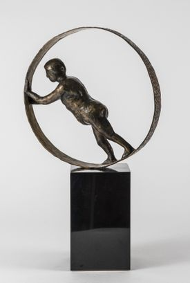 Bronzeskulptur af Pierre Martin: Holde hjulene i gang Bronze
