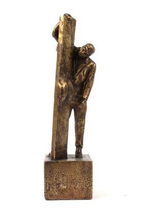 Sagen set fra 2 sider - bronzestøbt Bronze
