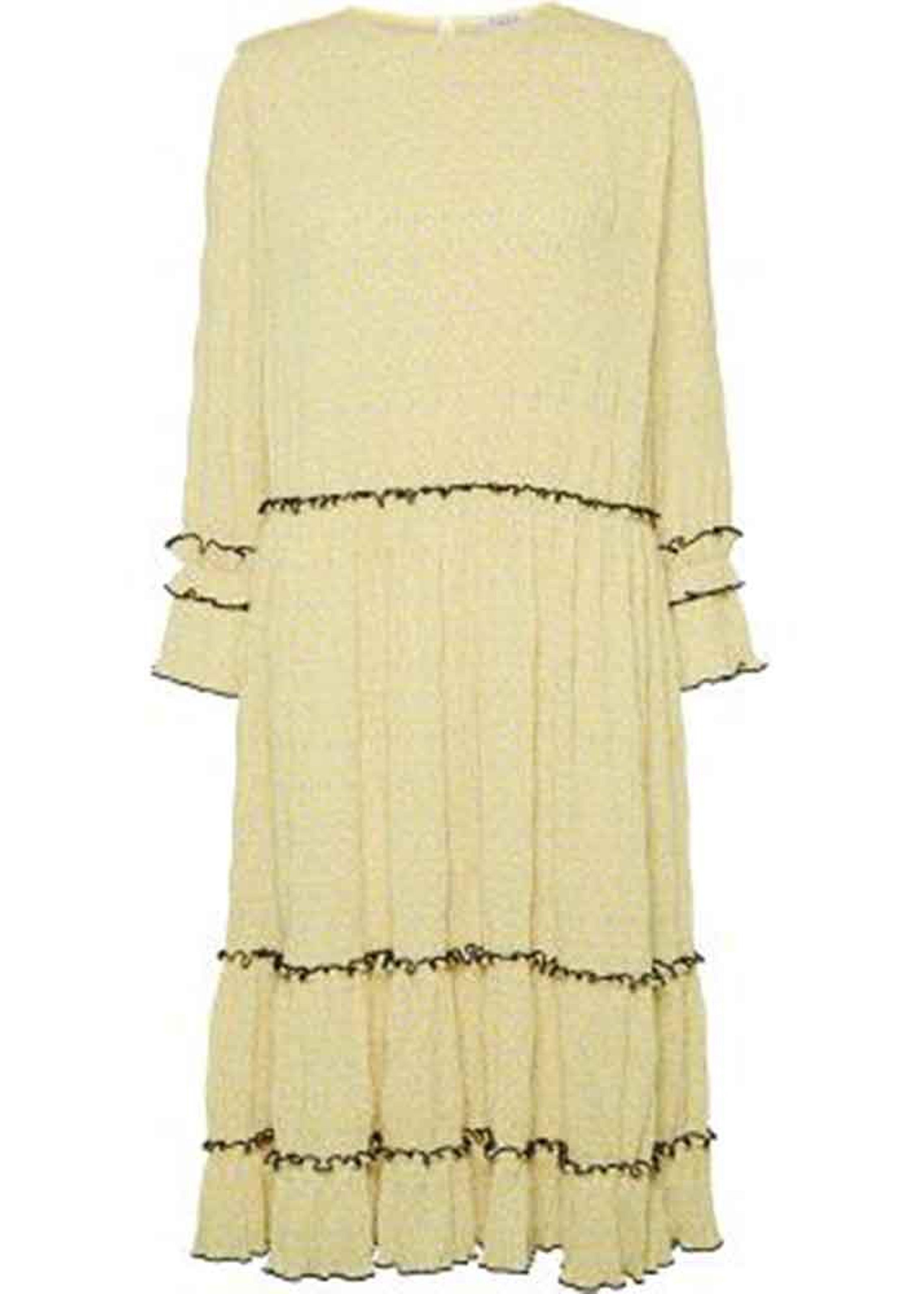 adb0ee2e NORR Mette dress - Gult print med sort piping Kjole Gul Print