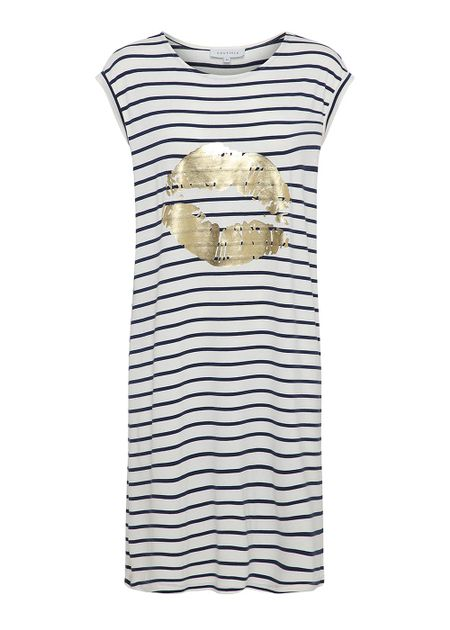 a6b3711a Dicte Dress - Stribet kjole fra Continue - med guld kys - Kjole